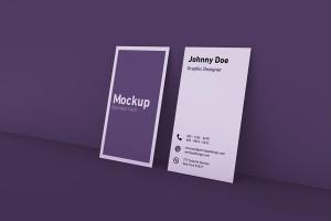 竖版设计风格商务名片设计展示效果图样机 Vertical Business Card Mockup插图2