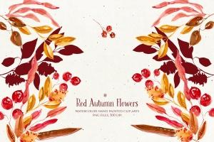 秋天红色水彩手绘花卉剪贴画PNG素材 Red Autumn Flowers插图3