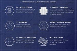 工业蓝图设计图风格设计AI模板工具包 The Complete Vector Blueprint Kit插图2