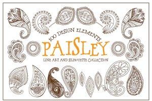 波西米亚风格艺术线条插图素材 Boho Paisley Line Art Illustrations插图1