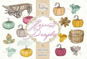 丰收季节秋天农场手绘图案PNG素材 Harvest Pumpkin design插图3