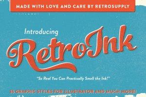 71个复古风格PS字体样式 RetroInk | 71 Retro Ink Effects插图1
