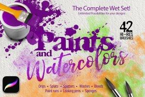 Procreate专用42款油漆&水彩画笔套装插图(2)