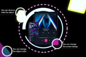 霓虹灯背景iPhone XS & iPad Pro样机模板 Neon iPhone XS & iPad Pro插图2