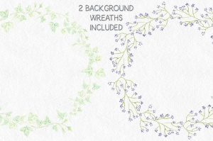紫色水彩手绘花环图案PNG素材 Trio of Watercolor Floral Wreaths in Purple Shades插图5