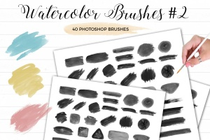 水彩绘画笔画图案PS笔刷#2 Watercolor Photoshop Brushes #2插图1