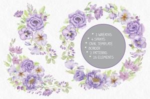 紫色水彩手绘花卉图案剪贴画PNG素材套装 Purple Passion: Watercolor Clip Art Bundle插图2