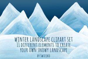 圣诞手绘水粉雪景-剪贴画  Snowy Landscape – clipart插图1