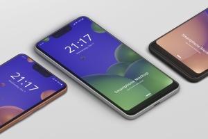 谷歌智能手机Pixel 3 XL屏幕预览样机模板 Smart Phone Mockup Pixel 3 XL插图1