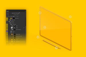 iPad Pro黏土陶瓷材质平板电脑屏幕演示左视图样机03 Clay iPad Pro 12.9 Mockup, Isometric Left View 03插图6