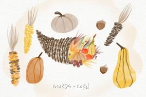 秋天主题水彩手绘图案设计素材包 Autumn Watercolor Kit插图3