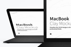 MacBook笔记本电脑多屏幕预览前视图样机03 Clay MacBook Mockup, Front View 03插图2