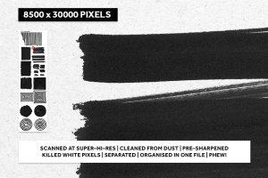 逼真黑色记号笔笔画纹理 REAL BLACK MARKER TEXTURES插图3