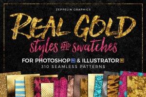 300+金光闪闪金箔图层样式 300+ Gold Glitter Foil Styles插图1
