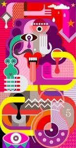 吐舌头的男人抽象手绘矢量插画 Portrait of a man with his tongue hanging out插图2
