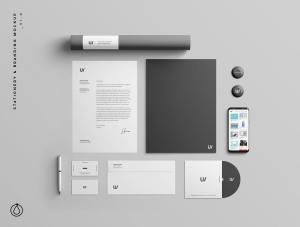 企业品牌VI视觉设计展示办公用品样机套件PSD模板 Stationery Branding & Identity Mockup – PSD插图1