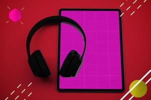 抽象设计风格iPad Pro平板电脑APP设计屏幕预览样机 Abstract iPad Pro Music App插图10