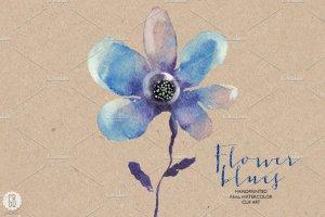 花朵、鸟儿、蝴蝶及乡村背景元素  Aquarelle blue flowers插图5