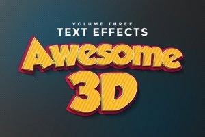 超酷3D立体文本特效PS字体样式v3 3D Text Effects Vol.3插图1