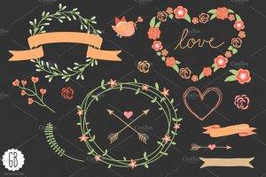 爱情花环玫瑰心形剪贴画 Love wreaths roses heart clip art插图1