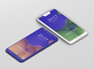 谷歌智能手机Pixel 3 XL屏幕预览样机模板 Smart Phone Mockup Pixel 3 XL插图2