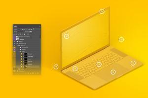 15寸MacBook Pro苹果笔记本电脑左视图样机模板 Clay MacBook Pro 15″ with Touch Bar, Left Isometric View Mockup插图2