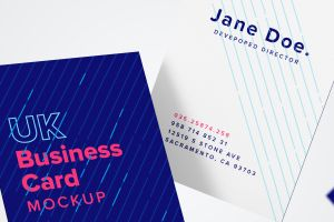 UK标准尺寸高端企业名片设计样机模板05 UK Business Card Mockup 05插图1