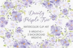 紫色水彩手绘花环图案PNG素材 Trio of Watercolor Floral Wreaths in Purple Shades插图1