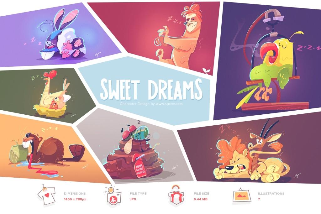 关于梦想主题卡通动物形象手绘矢量插画素材 Sweet Dreams插图