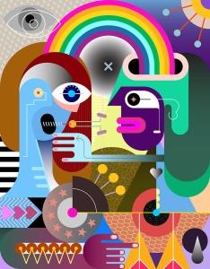 彩虹下的两个人抽象手绘矢量插画 Two people under a rainbow vector illustration插图2