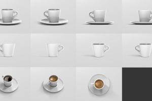 逼真咖啡杯马克杯样机模板 Espresso Cup Mockup – Cone Shape插图16