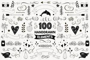 100种手绘装饰元素矢量图案素材 100 Decorative Elements插图2