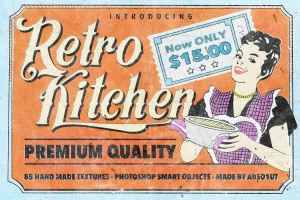 复古怀旧风格图层样式&PS笔刷 Retro Kitchen插图1
