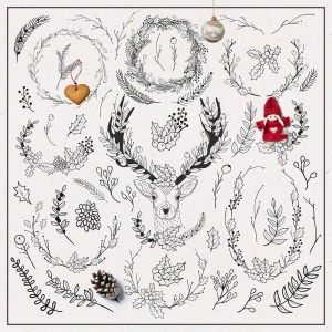 60+圣诞节主题手绘涂鸦花卉元素 Christmas Doodle Floral Elements插图2