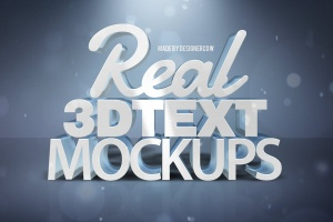 炫酷金属3D特效PSD样机模板v1 Real 3D text Mockups V1插图1