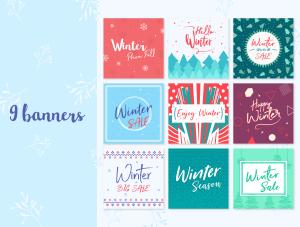 一流设计素材网下午茶:冬季广告banner设计矢量素材[Ai]插图2
