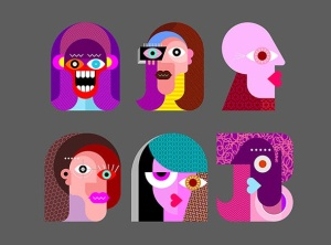 六款抽象女性人脸矢量插画素材 Six Faces / Six Characters vector illustration插图3