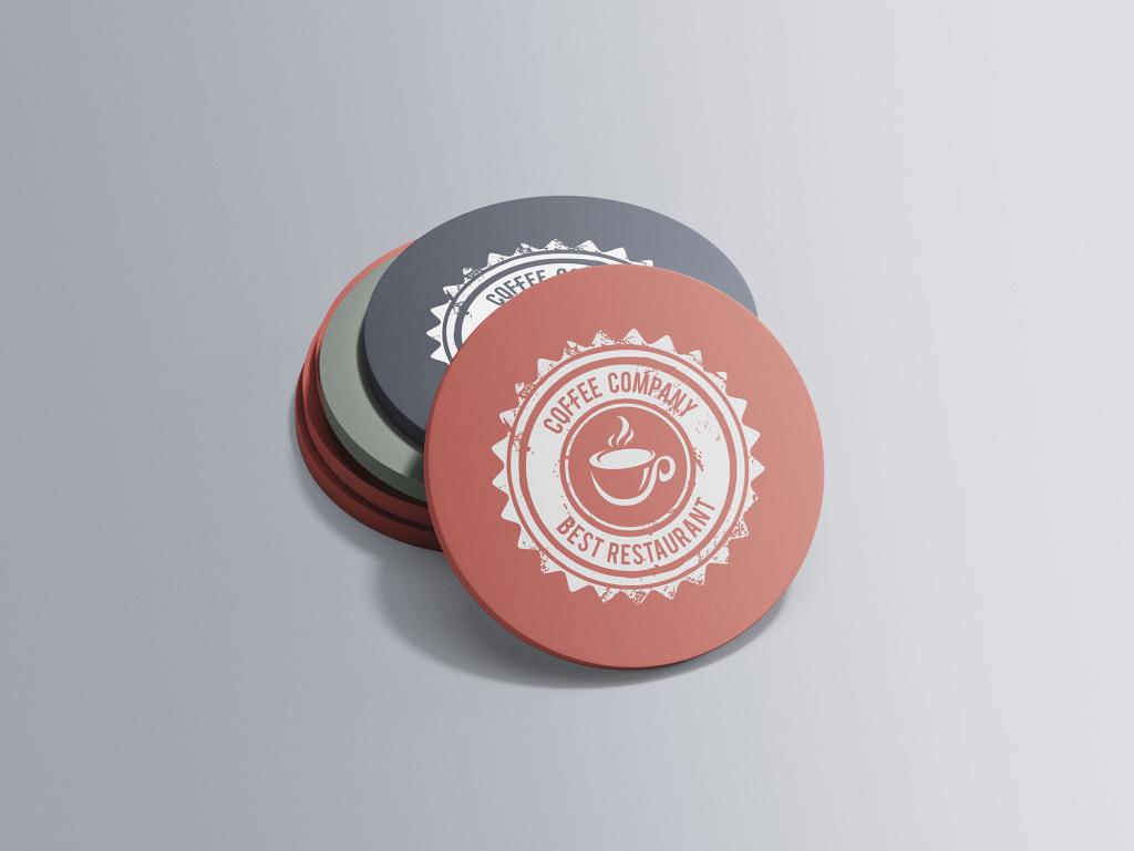咖啡杯杯垫设计图样机模板 Circular Coaster Mockup插图
