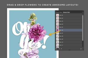 美丽花卉布局排版AI图层样式 FlowerType for Illustrator插图2