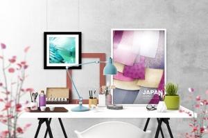 办公场景油画艺术品照片框架样机 Frame Creator Mockups插图4