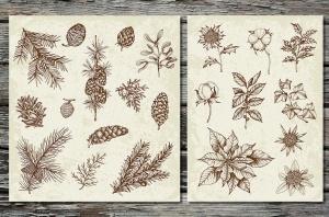 圣诞主题复古设计风格素材包[元素/背景/无缝纹理] Merry Christmas Vintage Design Kit插图2