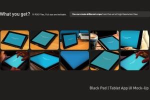 平板APP应用界面设计演示样机模板 Black iPad Tablet App UI Mock-Up插图3