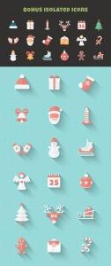 扁平设计风格圣诞节主题矢量素材包 Christmas Flat Set | Vector Icons Bundle插图4