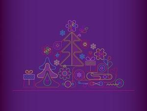 霓虹灯线条设计风格圣诞节主题矢量插画 Merry Christmas neon design vector print template插图2