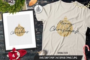 圣诞节主题T恤圣诞装饰球&祝语印花图案设计模板 Christmas Ball T-Shirt. Vector Print, Xmas Quote插图2