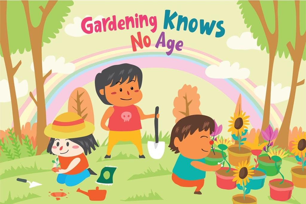 儿童乐园主题手绘矢量插画素材 Gardening Friends – Vector Illustration插图