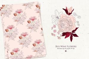 酒红色水彩手绘花卉PNG素材 Red Wine Flowers插图6