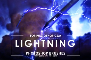 50款雷电闪电光线PS笔刷 50 Lightning Photoshop Brushes插图1