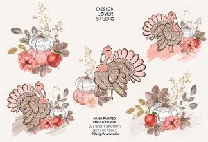 感恩节主题火鸡手绘图案数码纸张背景 Turkey Thanksgiving design插图2