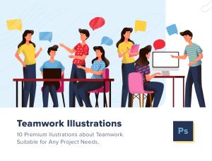 一流设计素材网下午茶:表现团队合作创意概念矢量插画素材下载[Ai]插图1